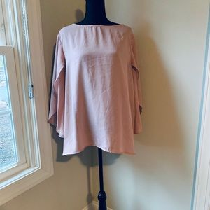 $20/2 SHEIN pink blouse with flowy sleeves